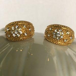 Melania gold & crystal French back earrings